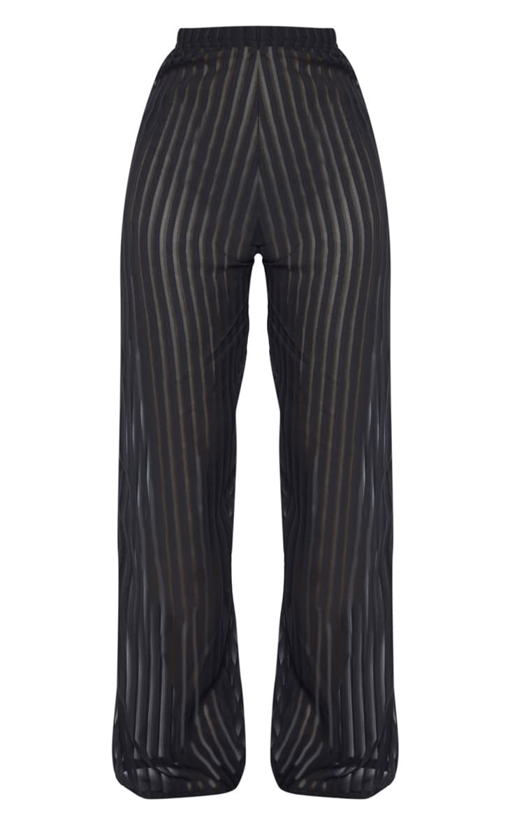 Black Sheer Stripe Wide Leg Beach Trouser 3
