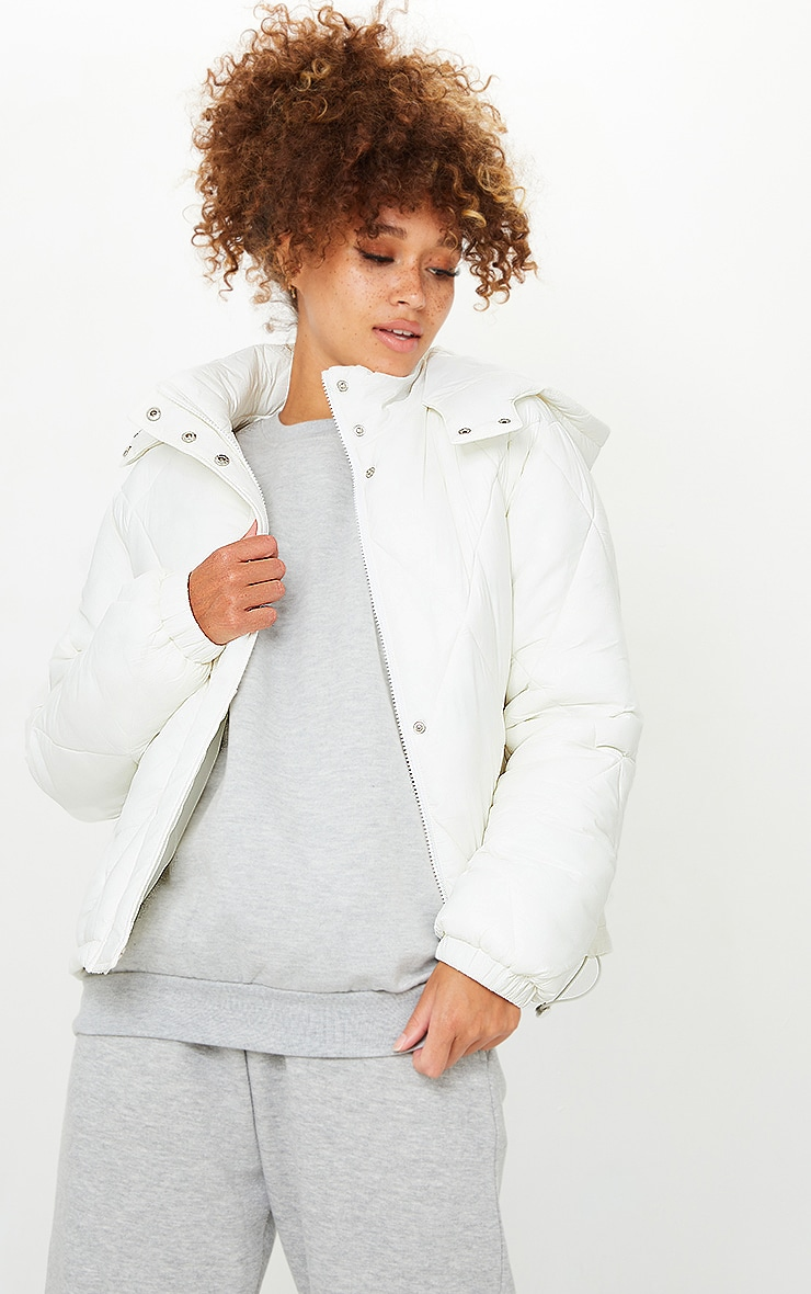 White Nylon Diamond Quilted Hooded Puffer Jacket 1