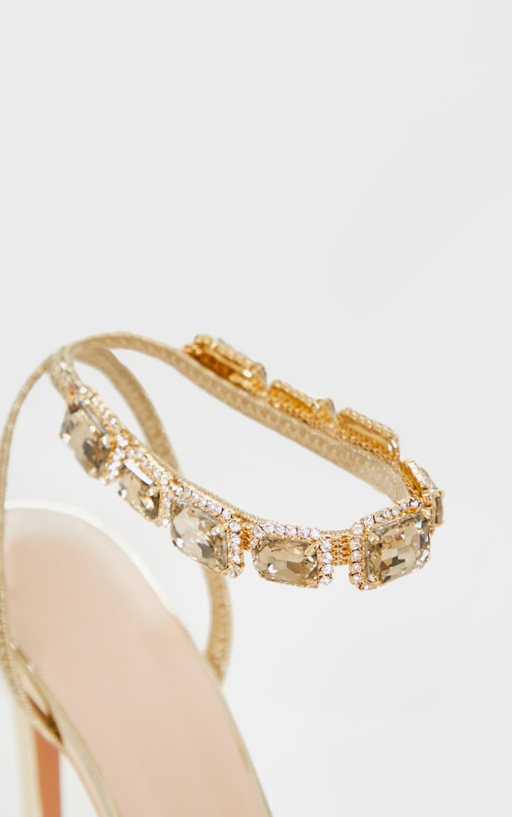 Gold Point Toe Jewel Ankle Sling Strap Heel Sandal 4