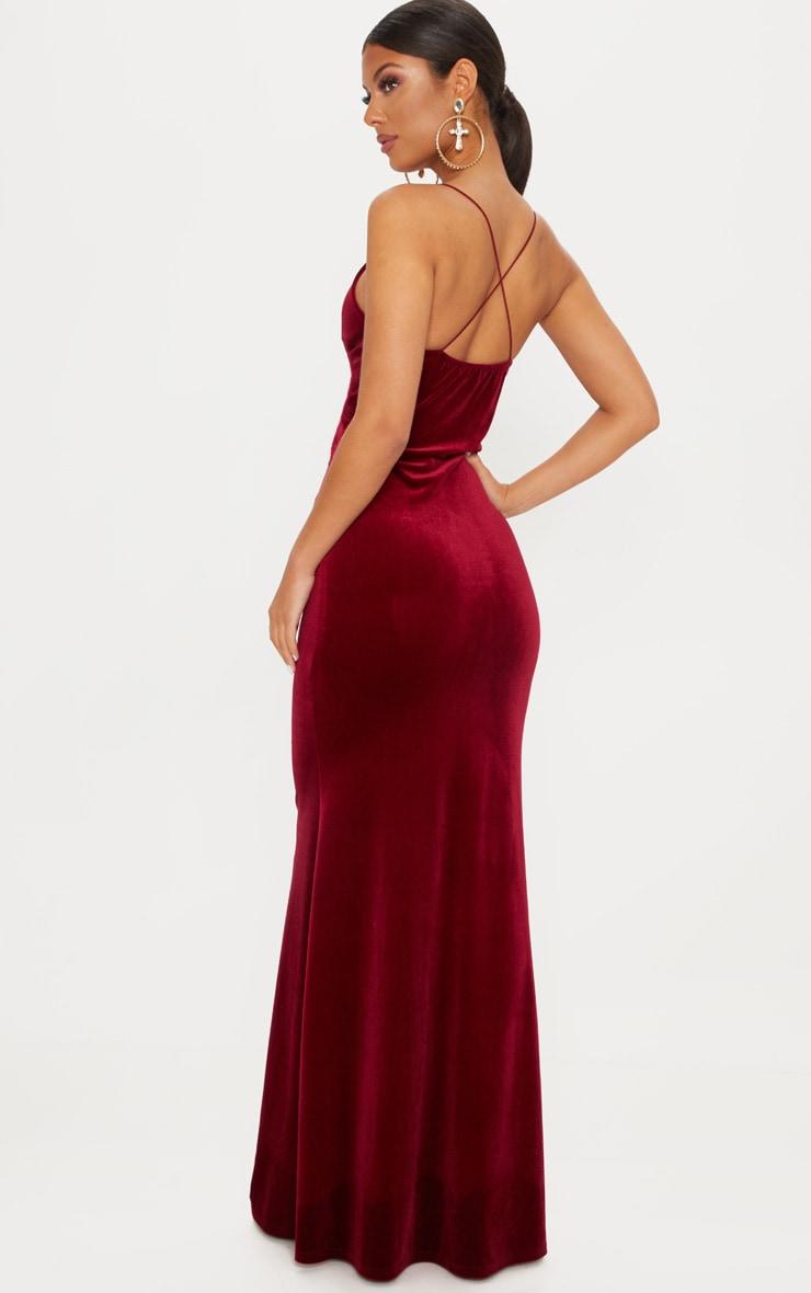 Wine Velvet Knot Front Maxi Dress 2