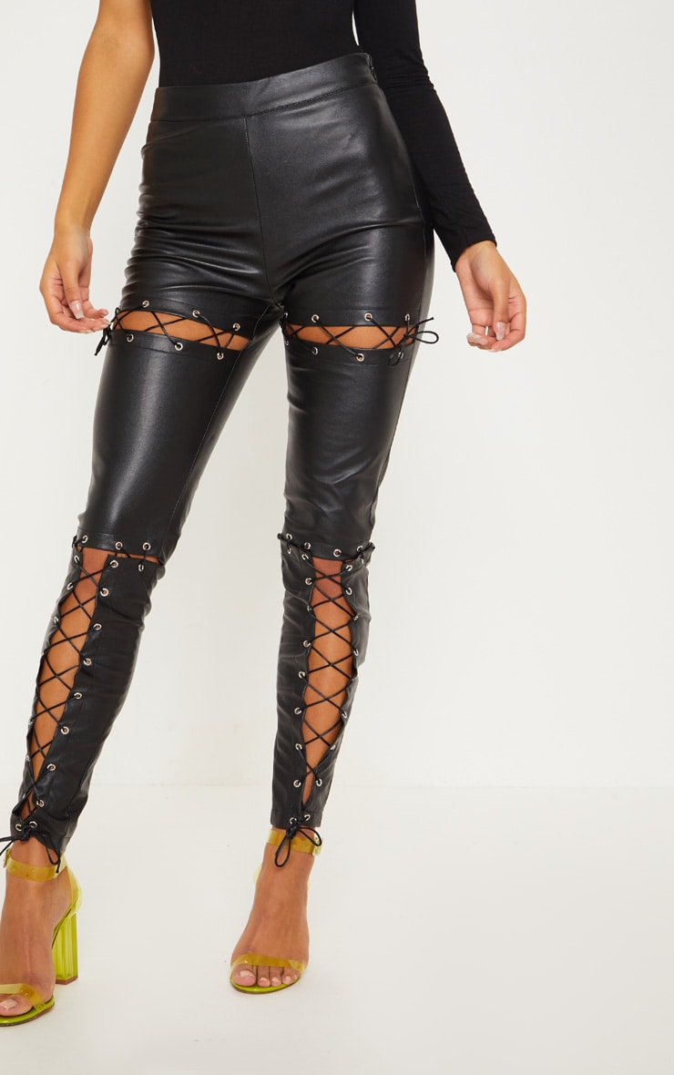 Black Faux Leather Lace Up Detail Skinny Pants 2