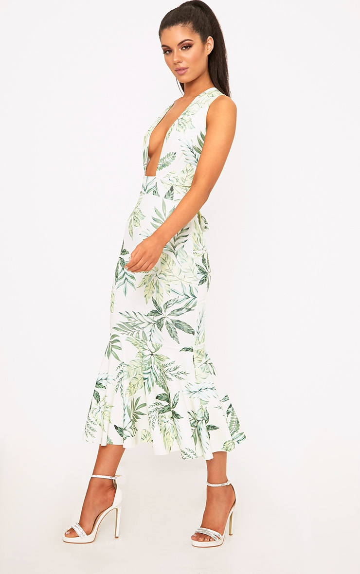 Green Palm Print Plunge Fishtail Midi Dress 1