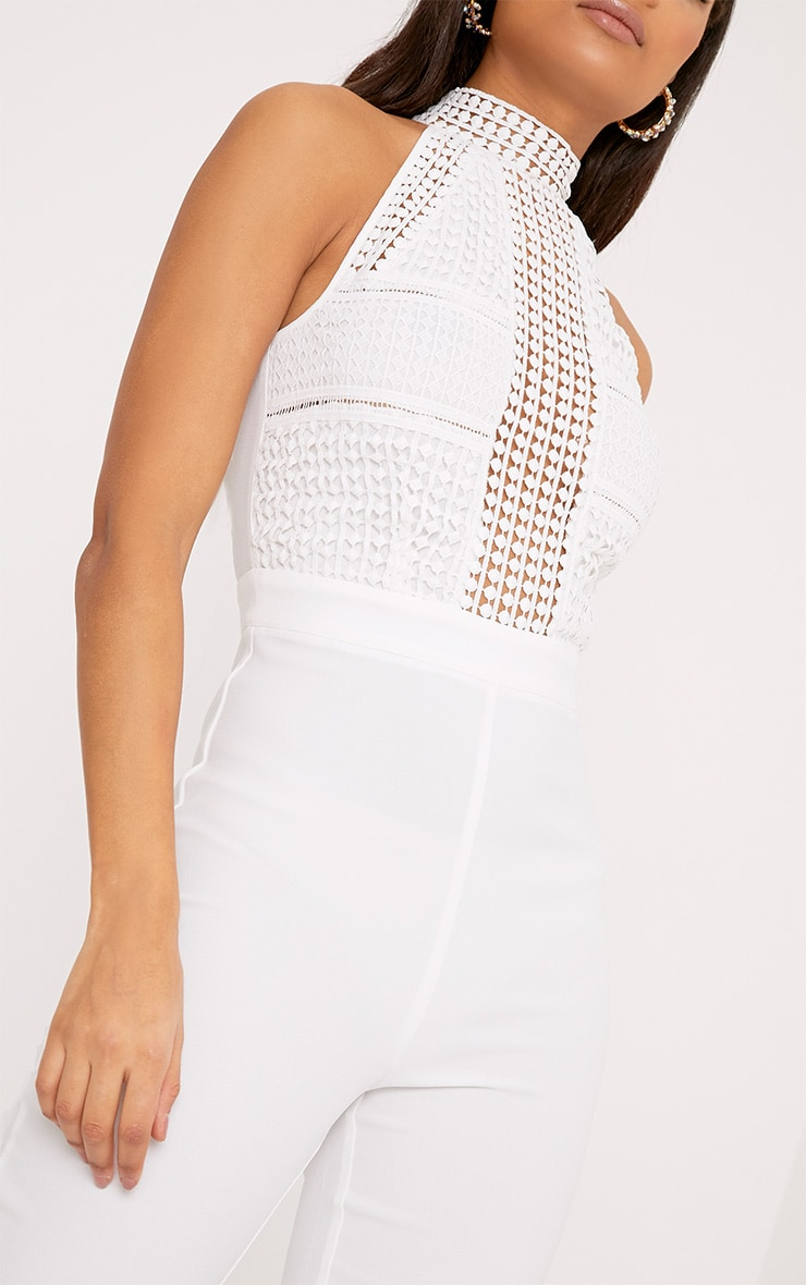 White Lace Embroidery Top Jumpsuit 4