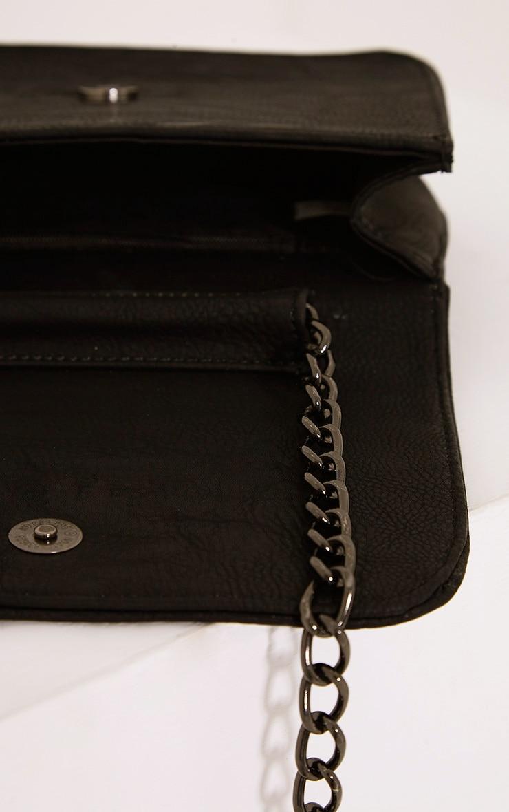 Emma Black Quilted Chain Strap Shoulder Bag 5