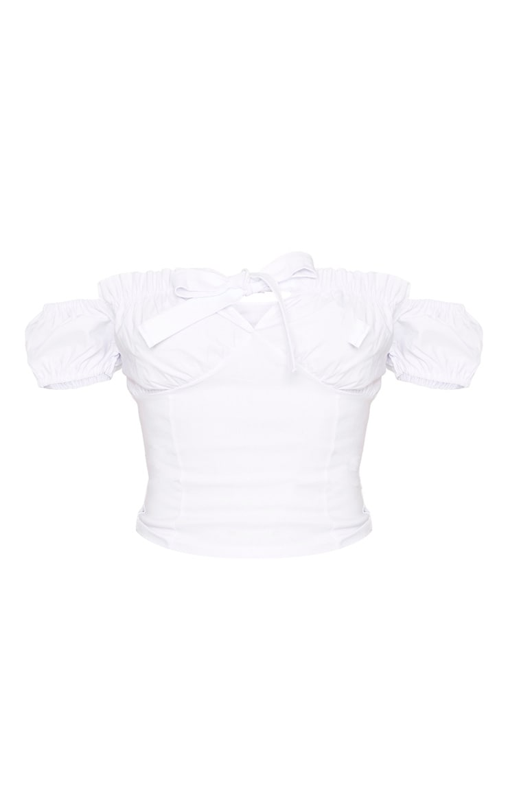 White Bardot Tie Front Short Sleeve Crop Top 3