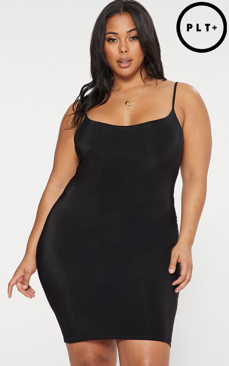 Plus Black Second Skin Slinky Strappy Midi Dress 1