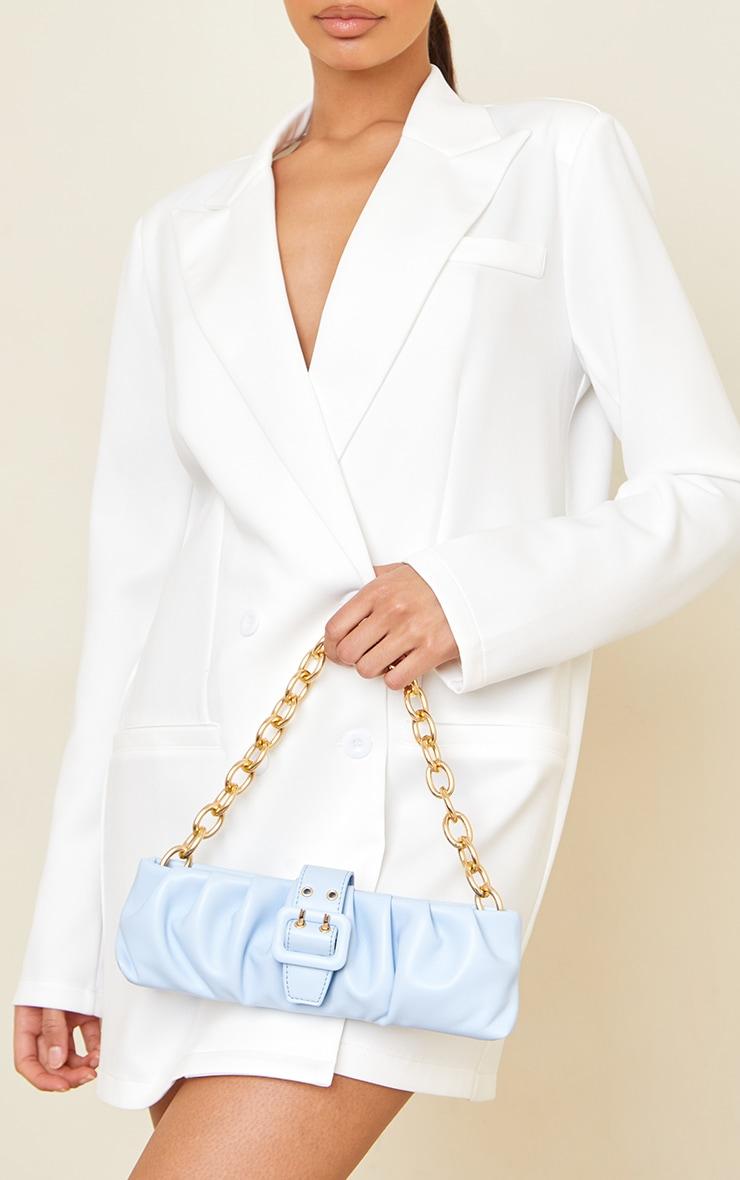 Baby Blue Baguette Gold Chunky Chain Shoulder Bag 1
