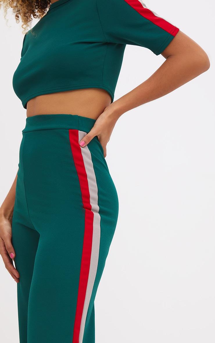 Emerald Green Sport Side Stripe Wide Leg Trousers 5