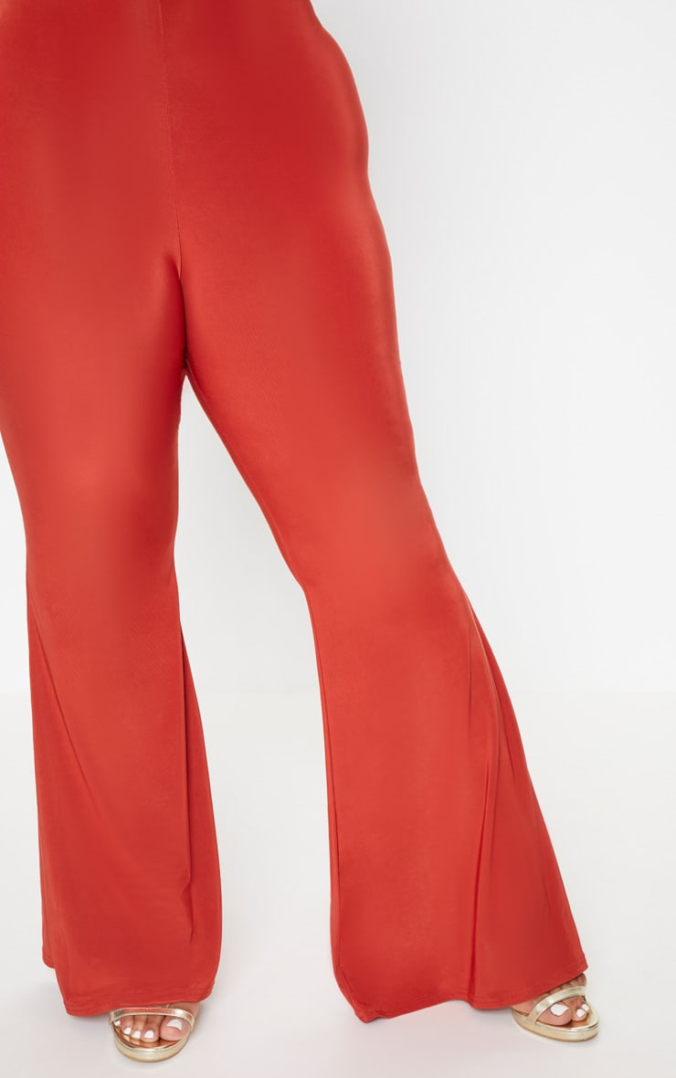 Plus Rust Slinky Flared Leg Trousers 5