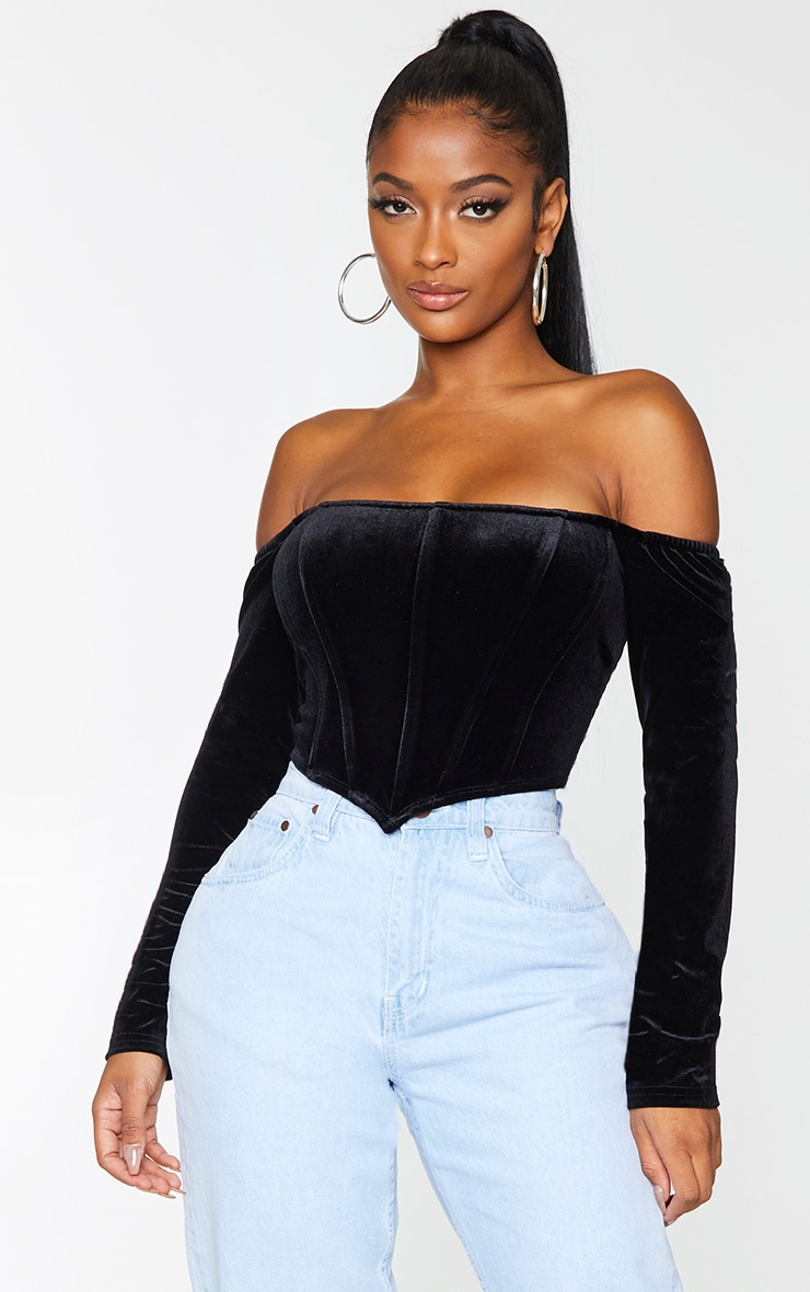Shape Black Velvet Bardot Long Sleeve Corset 1