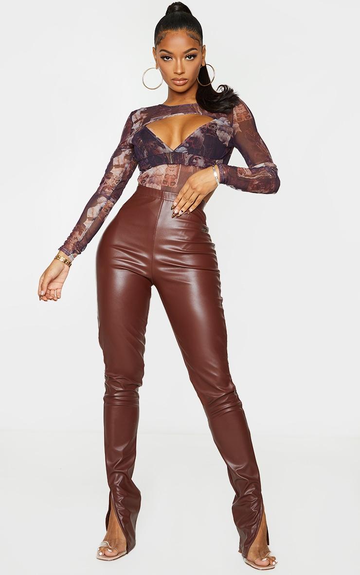 Shape Brown Renaissance Print Mesh Panel Cut Out Detail Bodysuit 3