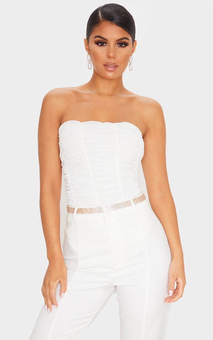 White Ruched Mesh Panelled Bandeau Bodysuit 1