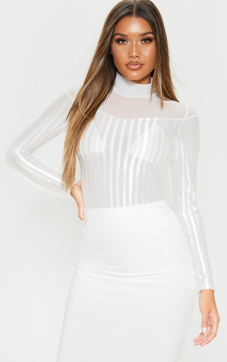 White Velvet Stripe Sheer Long Sleeve Top 4