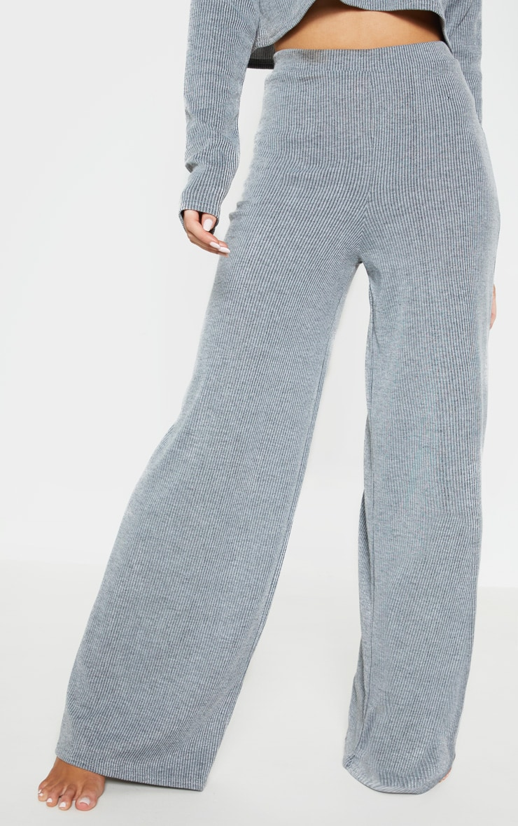 Grey Stripe Wide Leg Lounge Pants 2