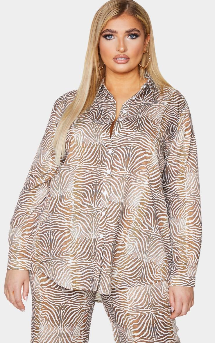 Plus Brown Zebra Printed Chiffon Oversized Shirt