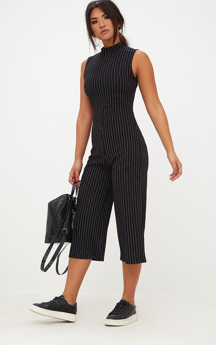 Black Striped High Neck Culotte Jumpsuit 4
