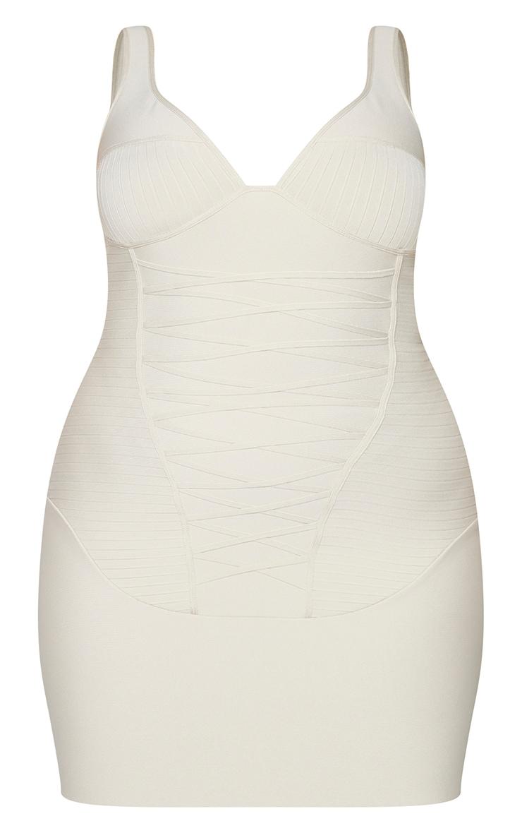 Plus Nude Bandage Corset Bodycon Dress 5