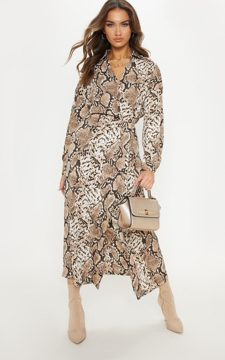 Brown Satin Snake Midi Dress 4