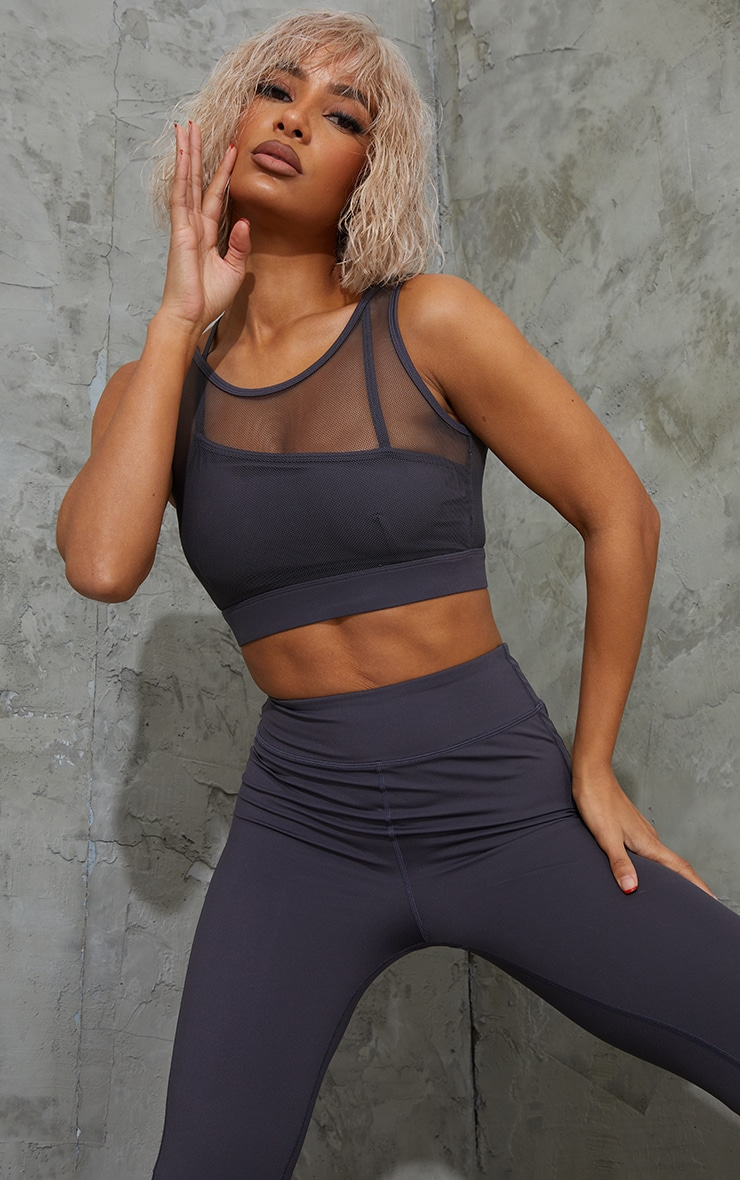 Charcoal Brushed Luxe Mesh Overlay Padded Sports Bra 1
