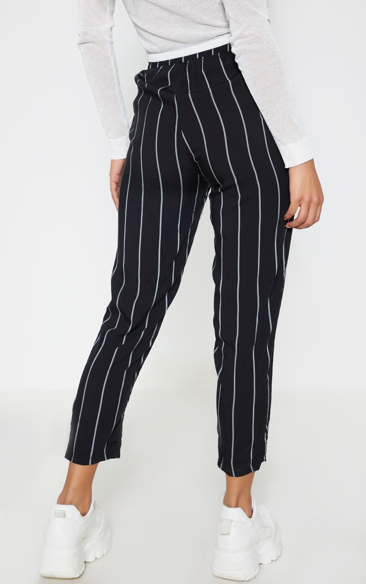 Diya Black Pin Stripe Casual Trousers 4
