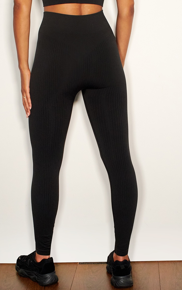 Black Premium Ribbed Seamless Legging 3
