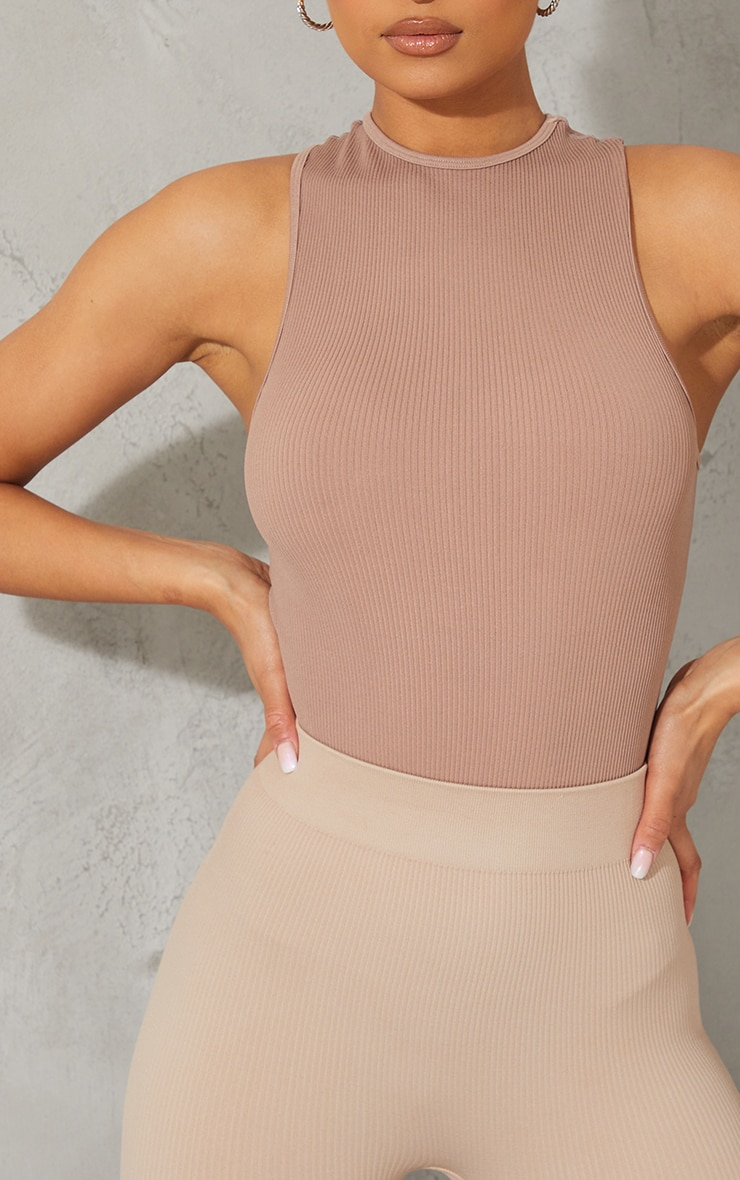 Taupe Structured Contour Racer Neck Ribbed Bodysuit 4