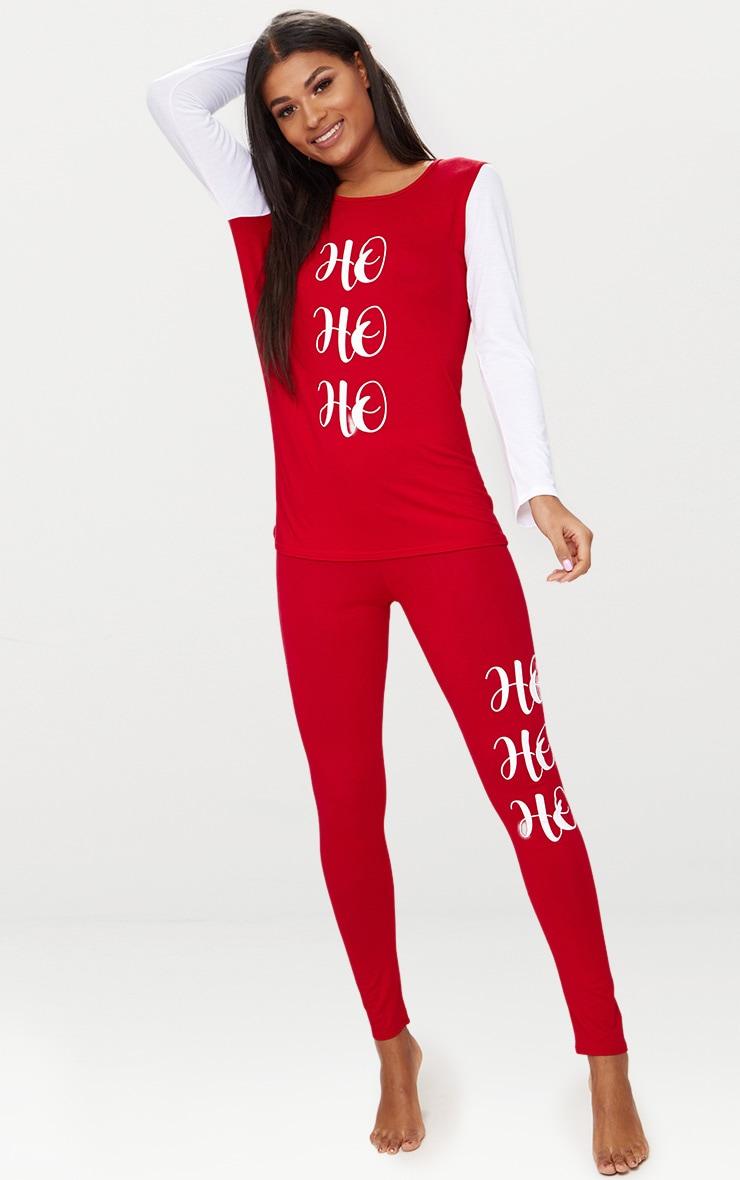 Christmas Pj.Red Ho Ho Ho Long Sleeve Christmas Pj Set