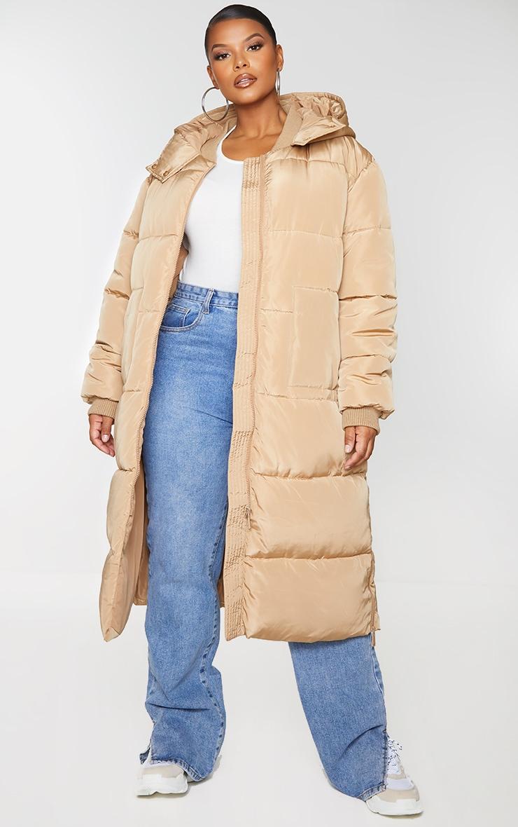 Plus Stone Maxi Hooded Puffer Jacket 1