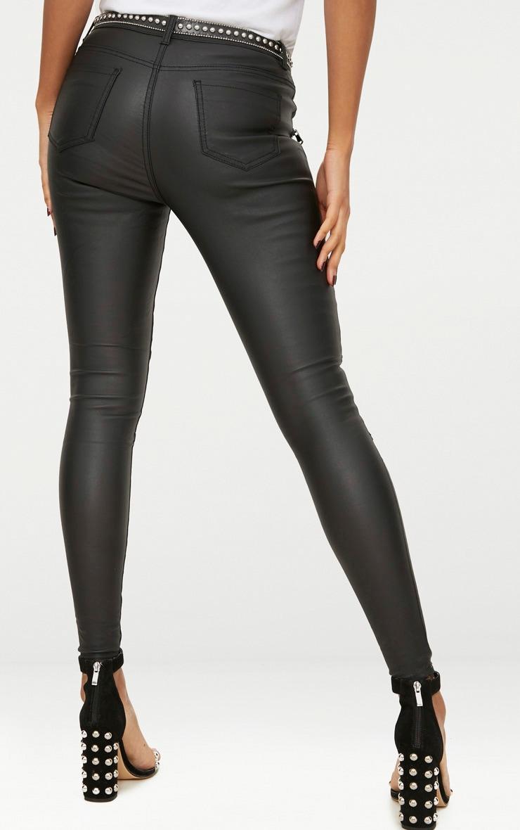 Black Coated Denim Skinny Biker Jeans 4