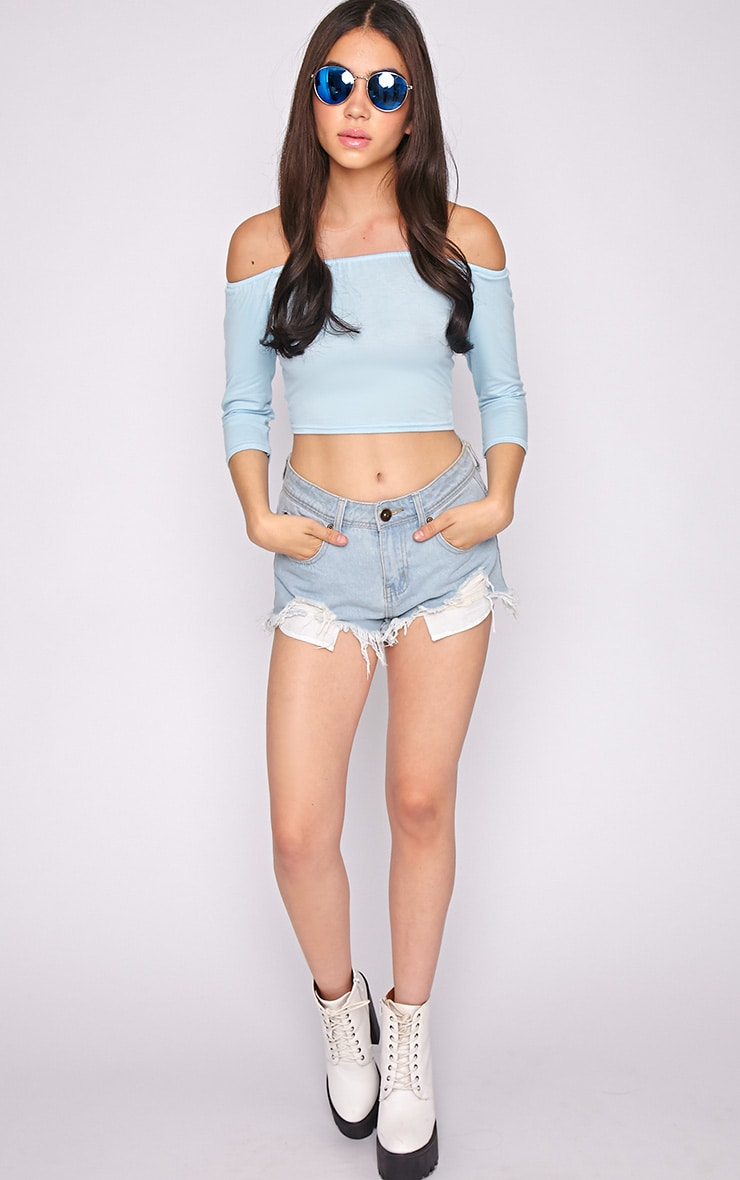 Joy Blue Bardot Crop Top  5