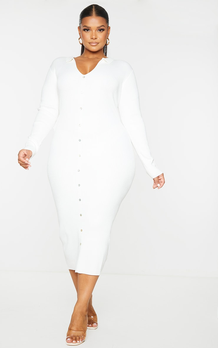 Plus Cream Button Up Collared Knit Dress 3