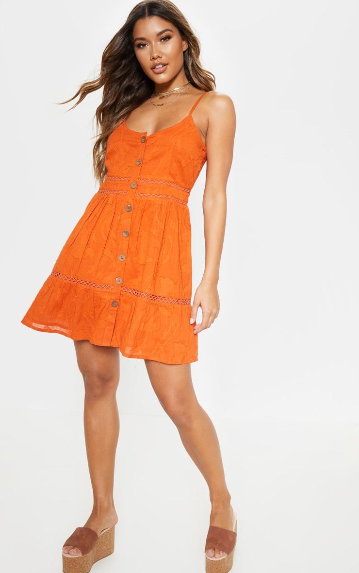 Rust Wooden Button Front Cami Dress 4