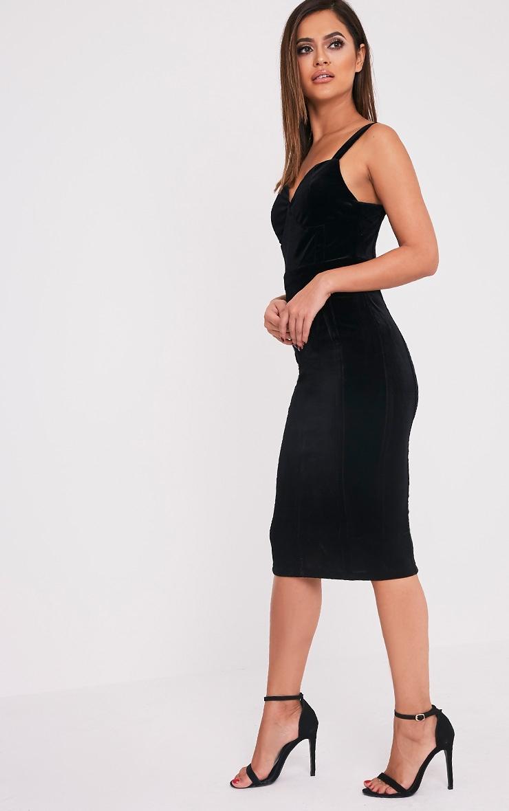 Garcia Black Velvet Panel Midi Dress 1
