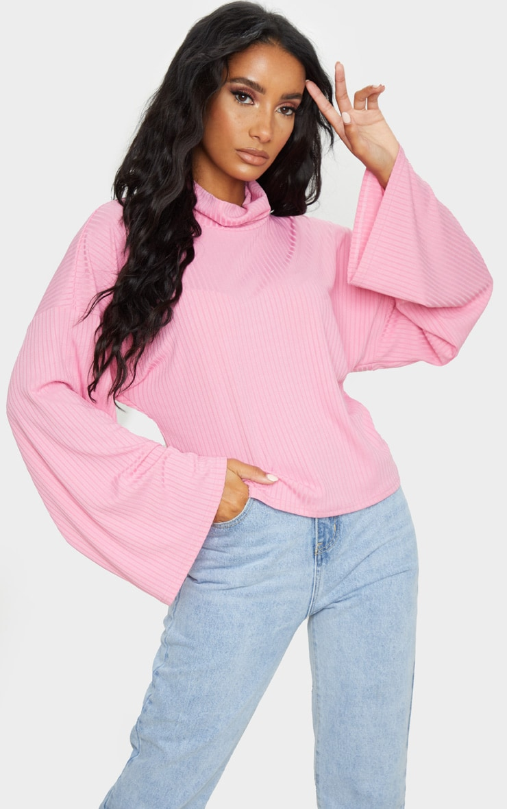 Pink Roll Neck Oversized Sweater 1