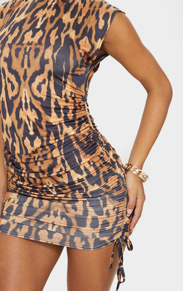 Tan Bengal Slinky Sleeveless High Neck Ruched Bodycon Dress 4