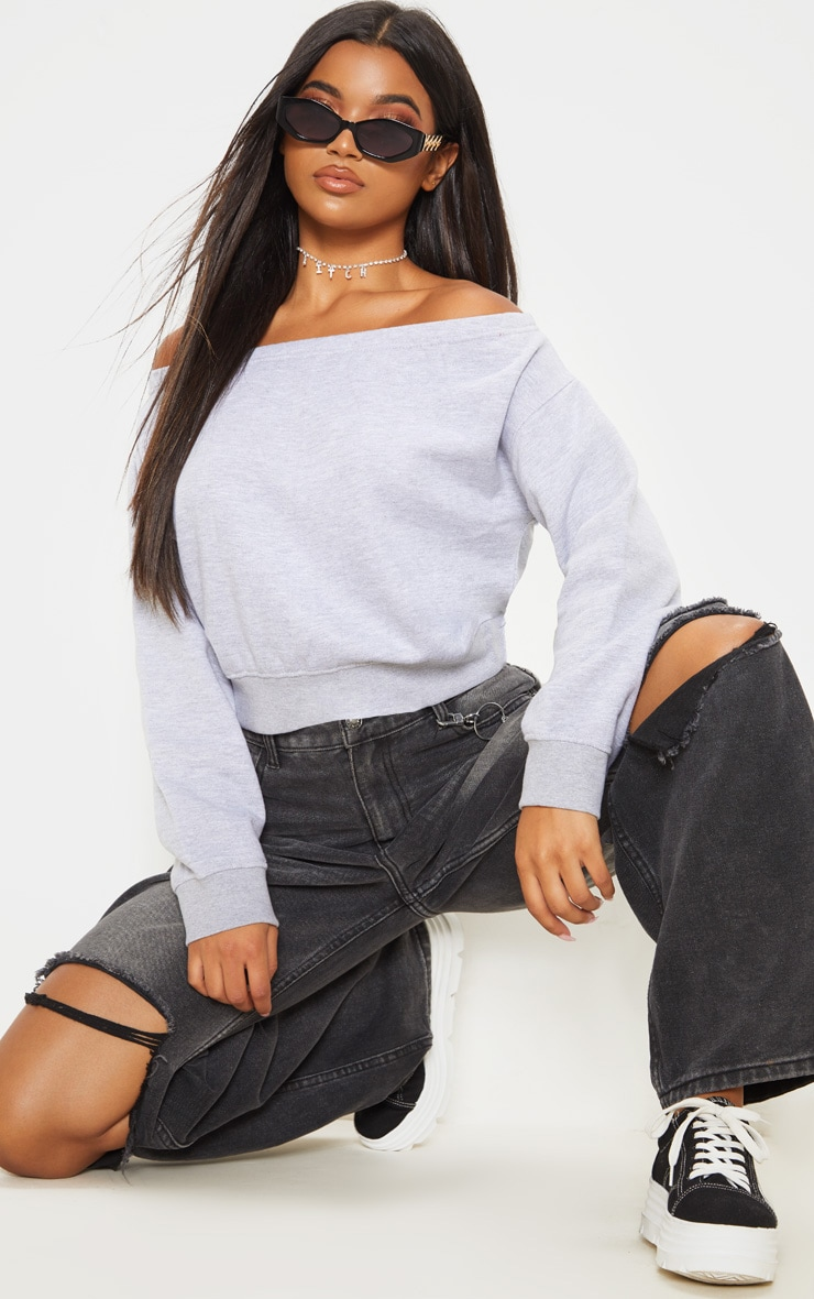 Grey Bardot Oversized Sweater 1