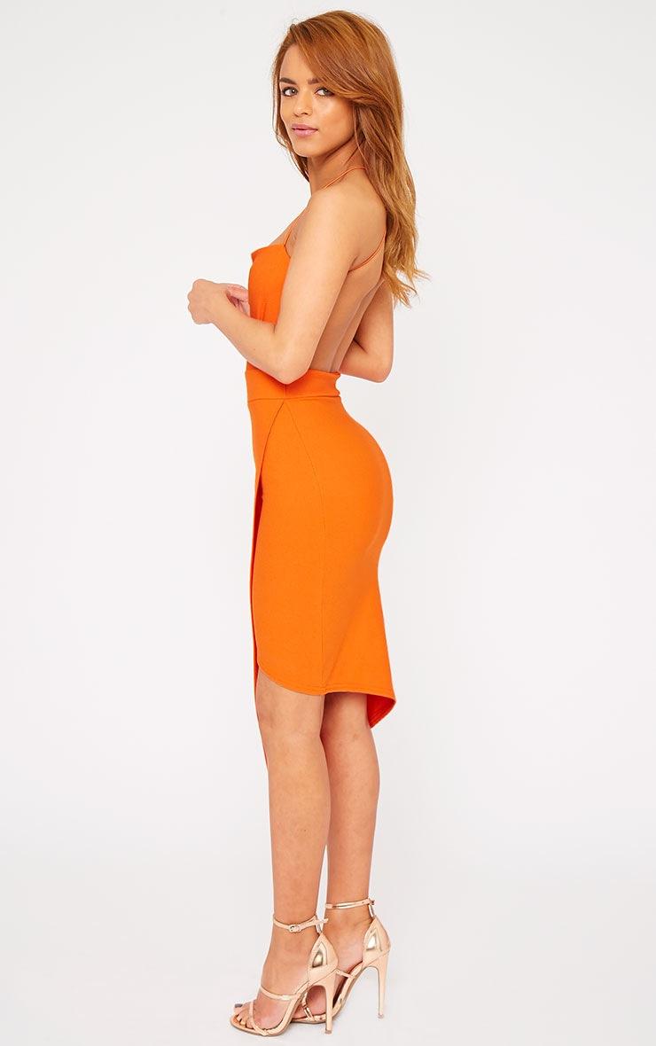 Raye Orange Cross Back Asymmetric Dress 4