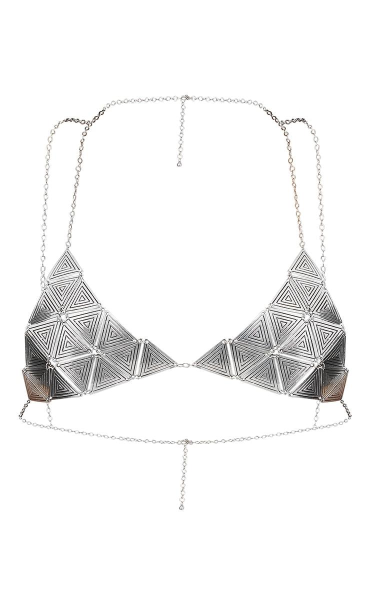 Benia Silver Triangle Chain Bra 3