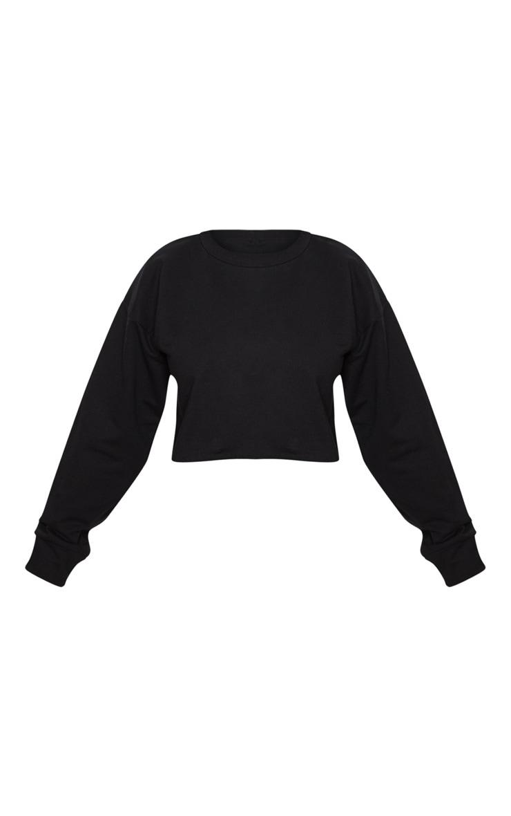 Petite Black Raw Edge Cropped Sweater 3