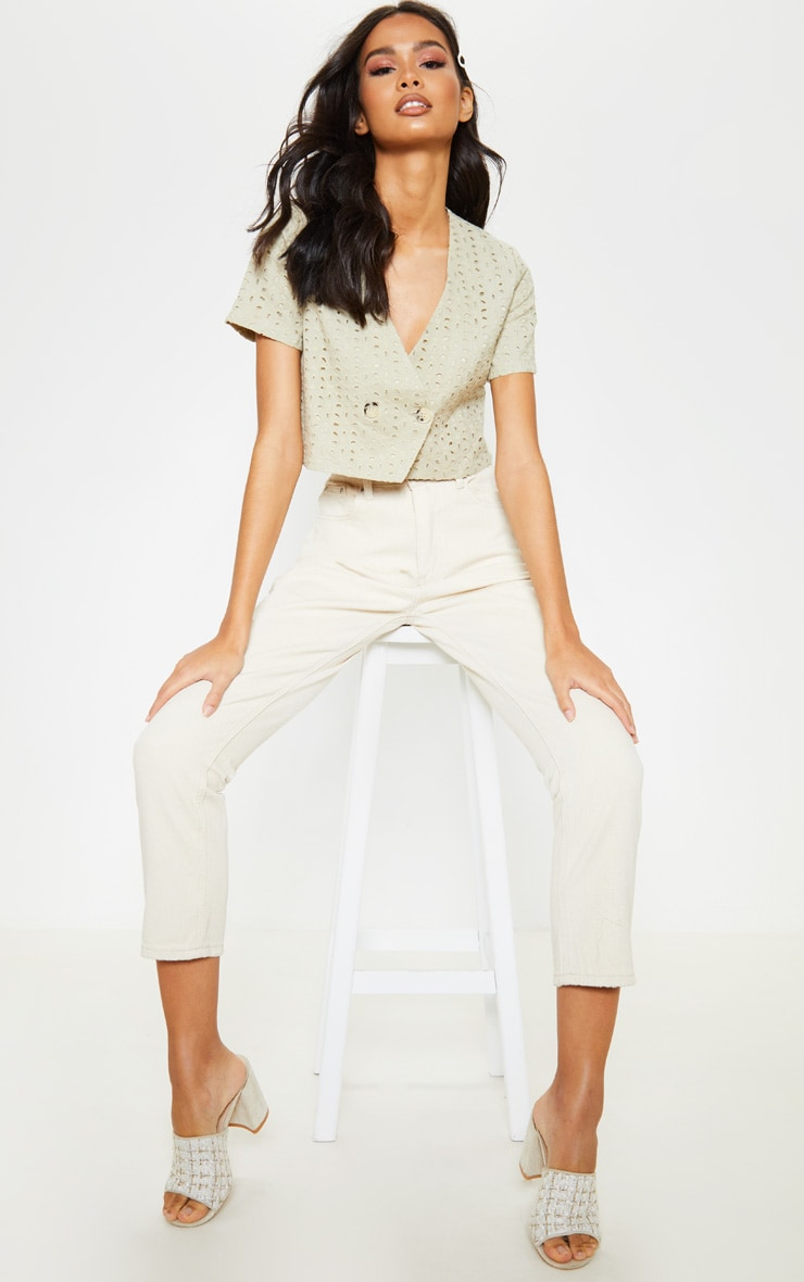 Stone Broderie Anglaise Button Front Short Sleeve Top 4