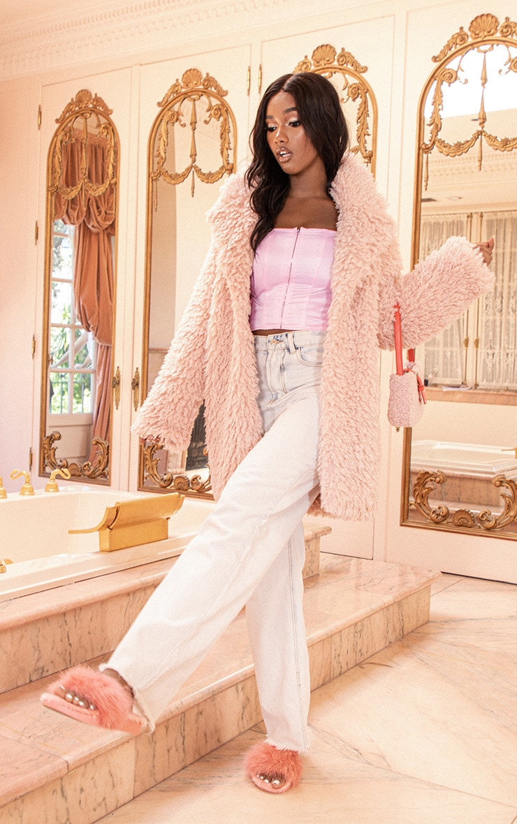Pink Teddy Faux Fur Coat 4