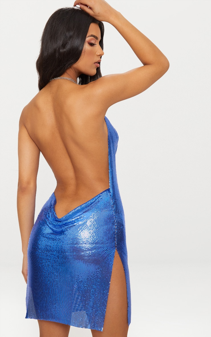 Cobalt Chainmail Dress Pretty Little Thing