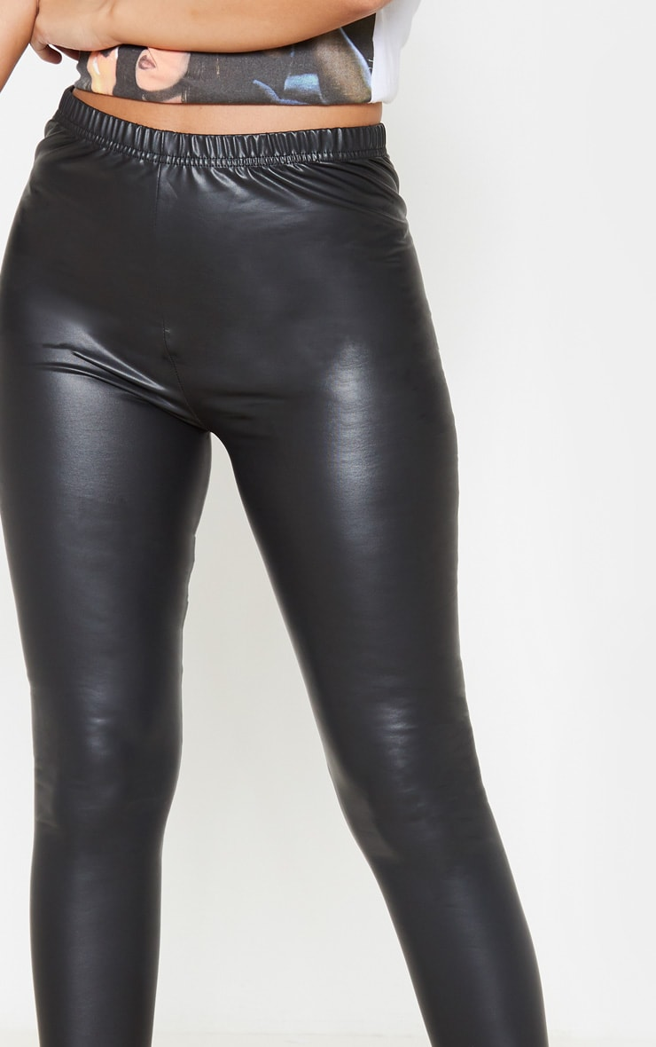 Petite Black PU Leggings 5