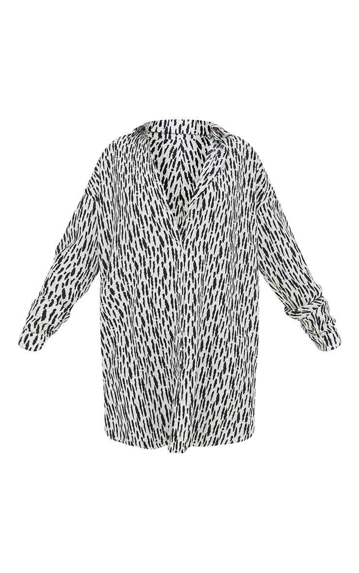 White Print Textured Twist Cut Out Back Drop Hem Shirt Dress
