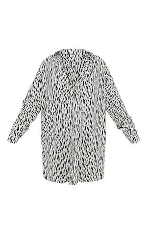 White Print Textured Twist Cut Out Back Drop Hem Shirt Dress image 5