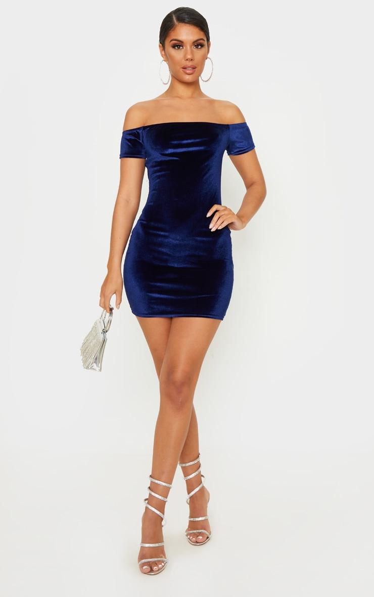 Navy Velvet Bardot Short Sleeve Bodycon Dress 4