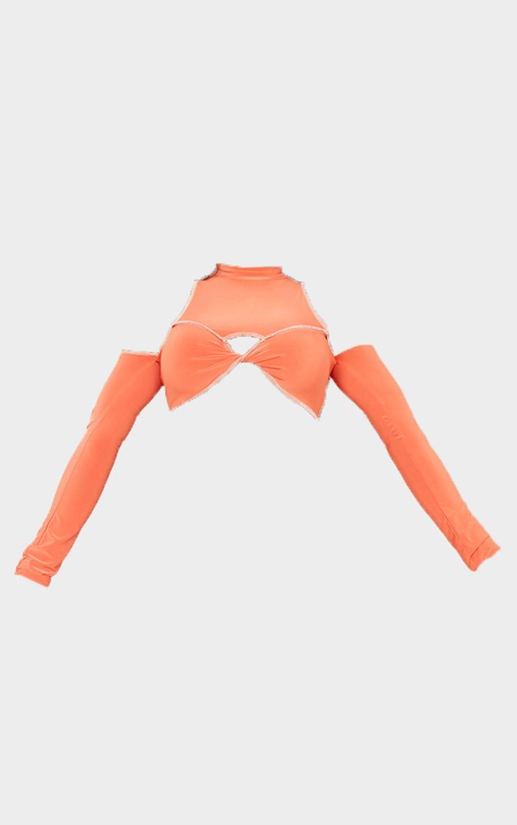 Shape Orange Slinky Twist Front Bardot Crop Top 5