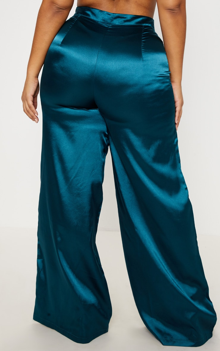 Plus Teal Satin Wide Leg Pants 4