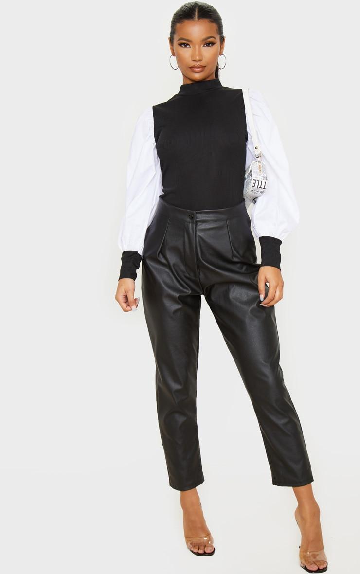 Black Rib Roll Neck Woven Sleeve Top 4