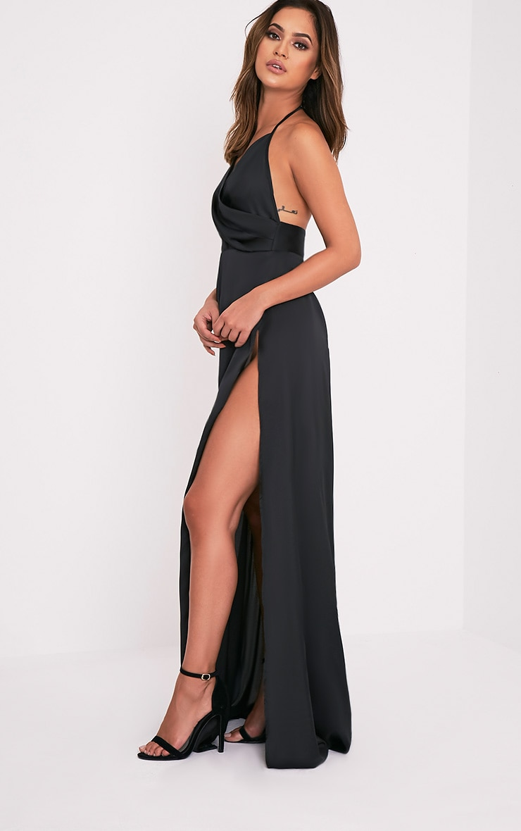 Lucie Black Silky Plunge Extreme Split Maxi Dress 4